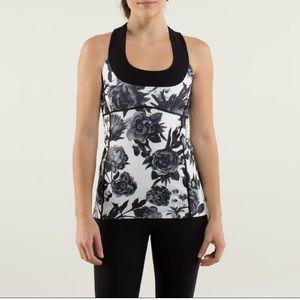 Lululemon Black/White floral scoop neck top